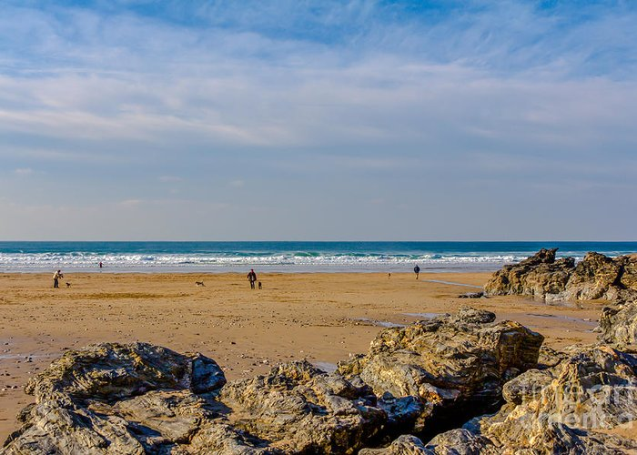 Cornish Seascape Greeting Card featuring the photograph The Beach At Porthtowan Cornwall by Brian Roscorla