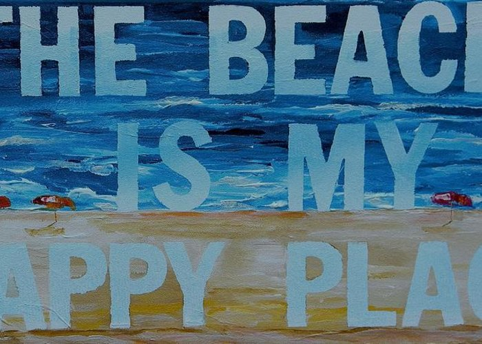Beach Greeting Card featuring the painting The Beach In My Happy Place Two by Patti Schermerhorn