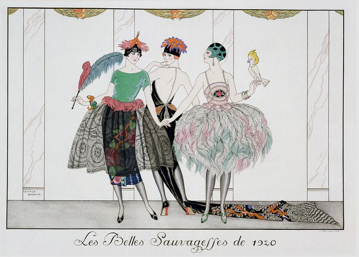 Print Greeting Card featuring the painting The Beautiful Savages by Georges Barbier