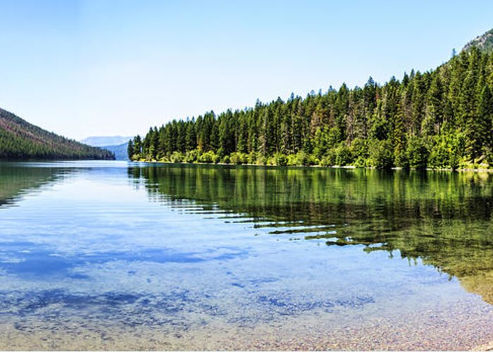 Kintla Lake Greeting Card featuring the photograph The Best Beach In Glacier National Park Panorama by Scotts Scapes