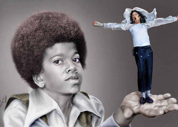 Young Michael Jackson Greeting Card featuring the painting The Best Of Me - Handle With Care - Michael Jacksons by Reggie Duffie