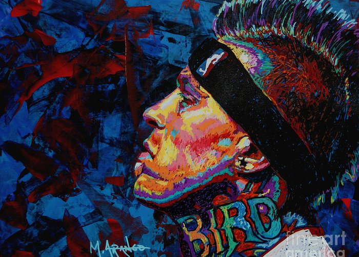 Chris Andersen Greeting Card featuring the painting The Birdman Chris Andersen by Maria Arango