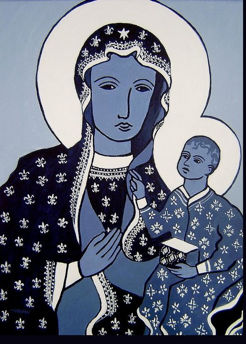 Madonna Greeting Card featuring the painting The Black Madonna In Blue by John Nolan