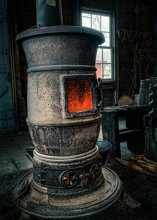 Wood Furnace Greeting Card featuring the photograph The Blacksmiths Furnace - Industrial by Gary Heller