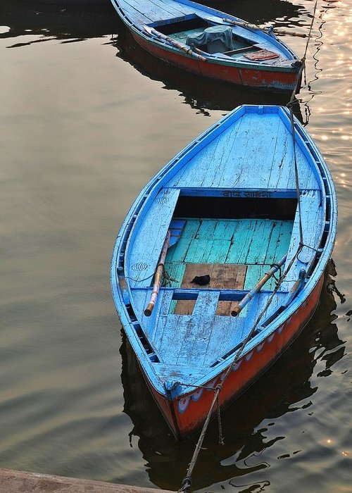 Blue Boat Greeting Card featuring the photograph The Blue Boat by Kim Bemis