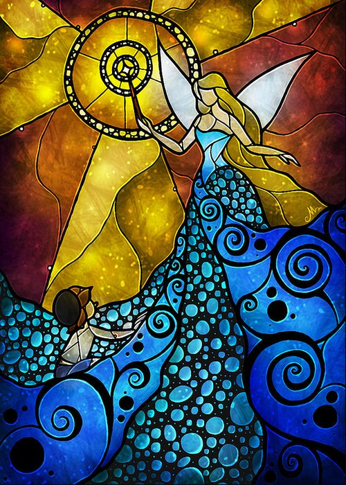Fantasy Greeting Card featuring the digital art The Blue Fairy by Mandie Manzano