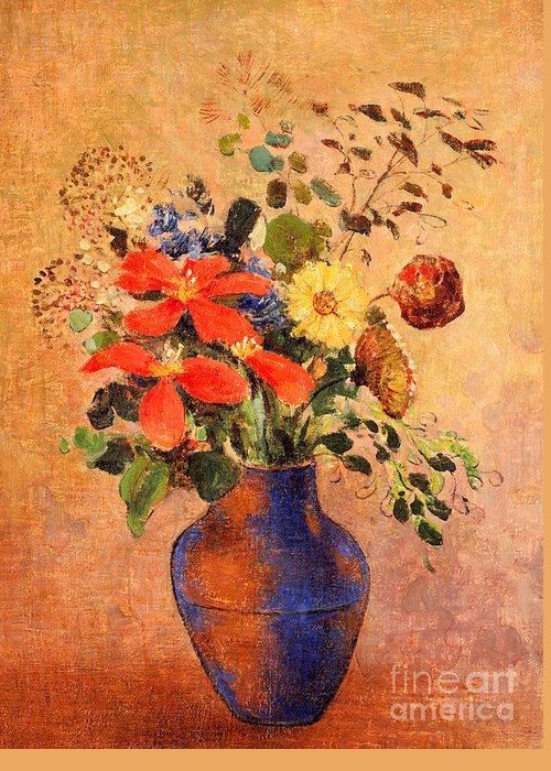 Still Life; Flower Greeting Card featuring the painting The Blue Vase by Odilon Redon