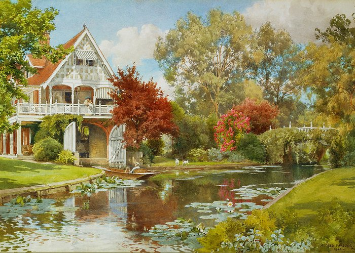 Landscape Greeting Card featuring the painting The Boathouse by Alfred Parsons