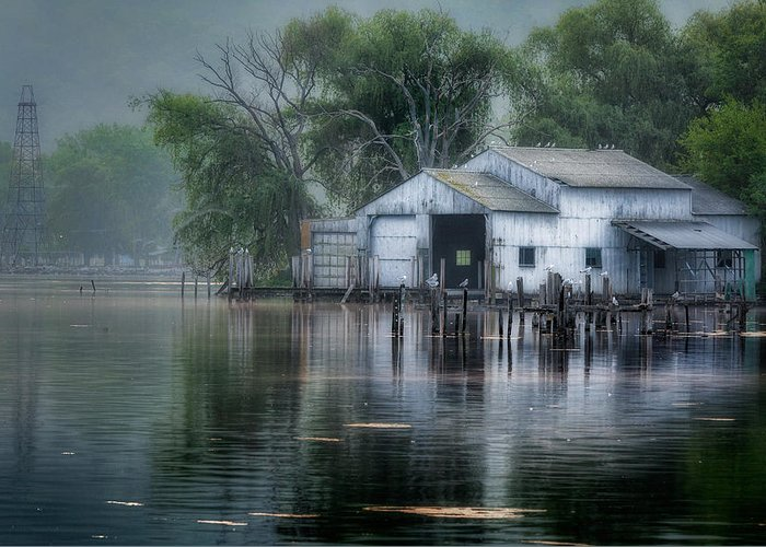 Watkins Glen Greeting Card featuring the photograph The Boathouse by Bill Wakeley