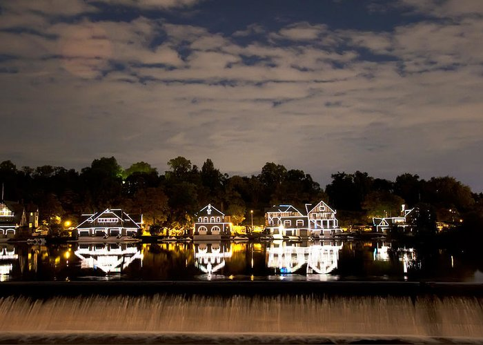 The Bright Lights Of Boathouse Row Greeting Card featuring the photograph The Bright Lights Of Boathouse Row by Bill Cannon