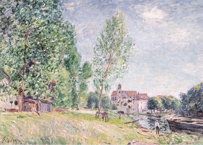 Impressionist; Landscape Greeting Card featuring the painting The Builder's Yard At Matrat Moret-sur-loing by Alfred Sisley