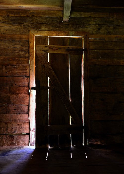 Cabin Door Greeting Card featuring the photograph The Cabin Door by David Lee Thompson
