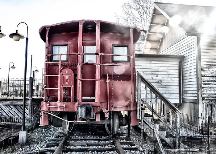 Ice Greeting Card featuring the photograph The Caboose by Bill Cannon