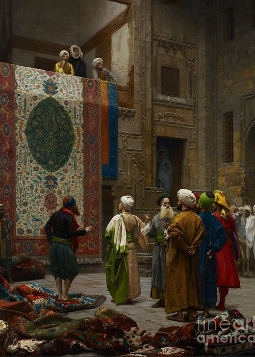 Gerome Greeting Card featuring the painting The Carpet Merchant by Jean Leon Gerome