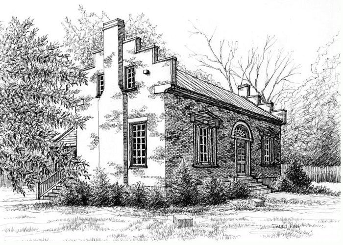 Carter House Greeting Card featuring the drawing The Carter House In Franklin Tennessee by Janet King