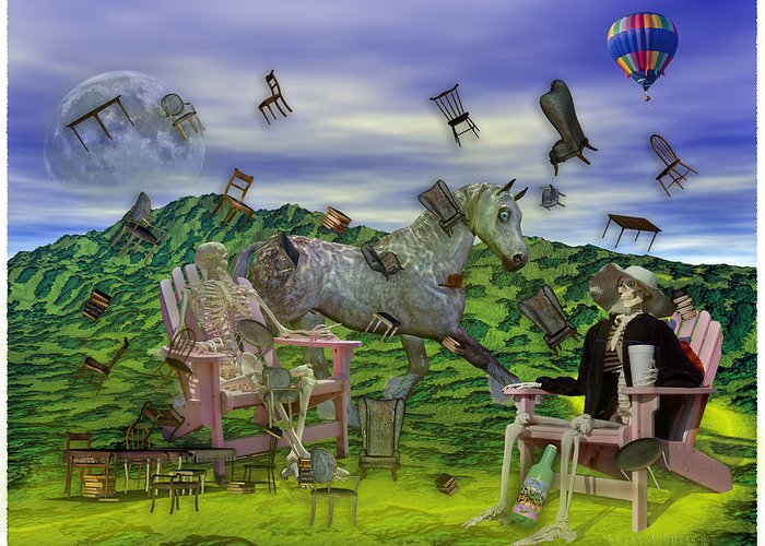 The Greeting Card featuring the mixed media The Chairs Of Oz by Betsy C Knapp