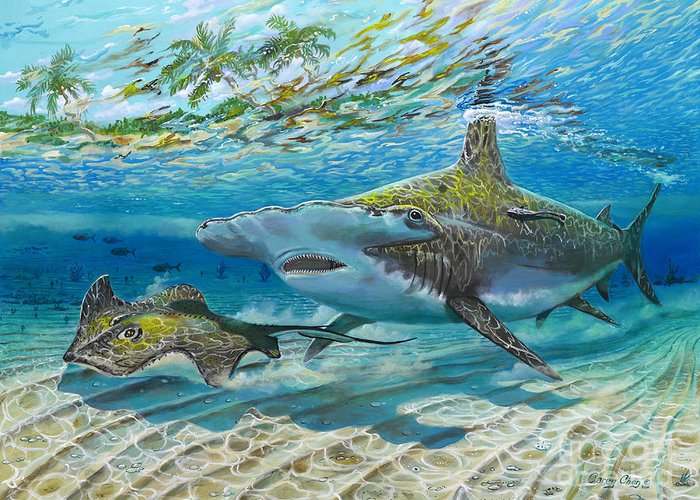 Shark Greeting Card featuring the painting The Chase by Carey Chen