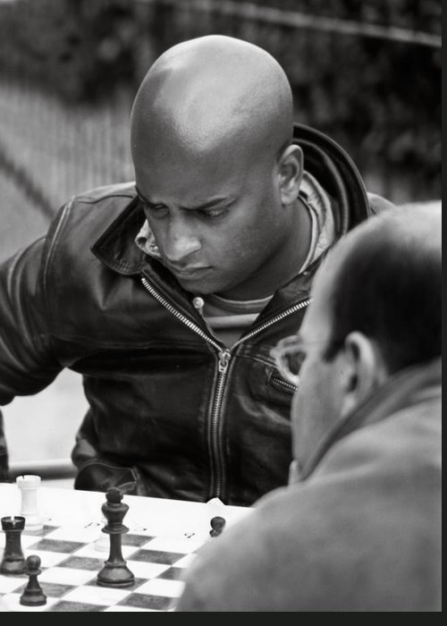 black And White Greeting Card featuring the photograph The Chess Player by Bernard Barcos