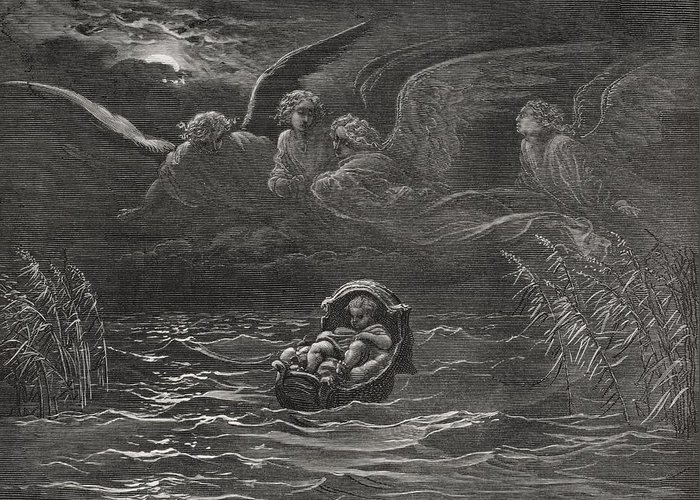 Baby Greeting Card featuring the painting The Child Moses On The Nile by Gustave Dore