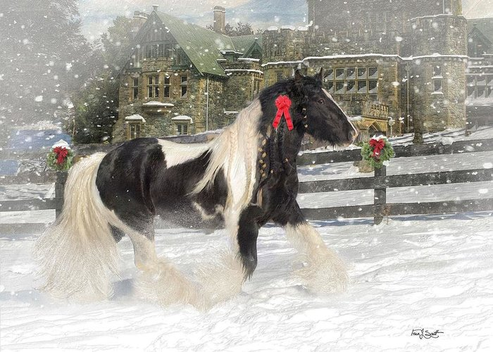 Christmas Greeting Card featuring the mixed media The Christmas Pony by Fran J Scott