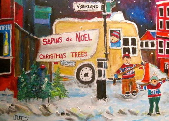 Christmas Trees Greeting Card featuring the painting The Christmas Tree Vendor by Michael Litvack