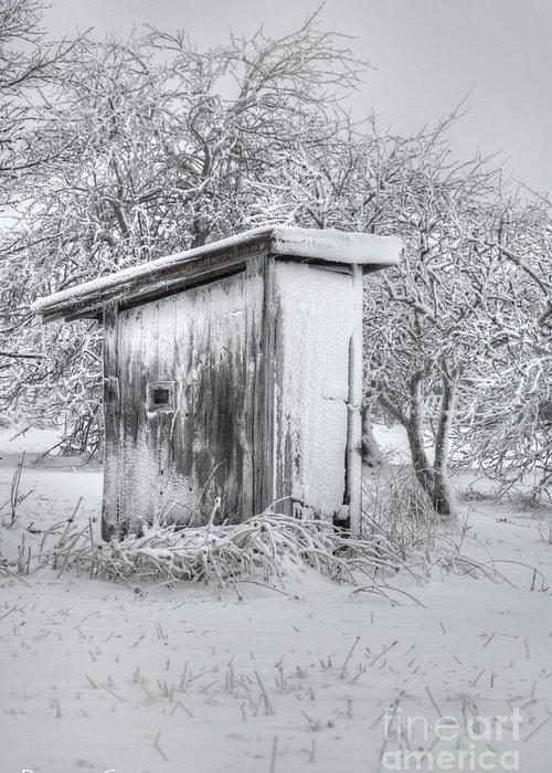 Outhouse Greeting Card featuring the photograph The Coldest Fifty Yard Dash by Benanne Stiens