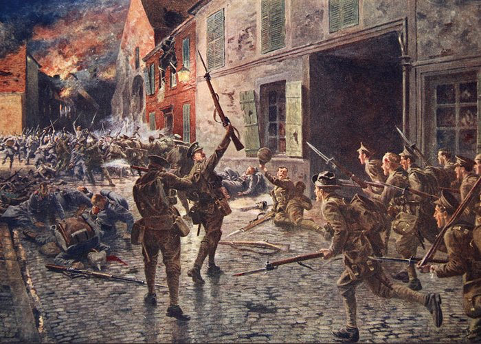 World War One Greeting Card featuring the drawing The Coldstream Guards At Landrecies by William Barnes Wollen