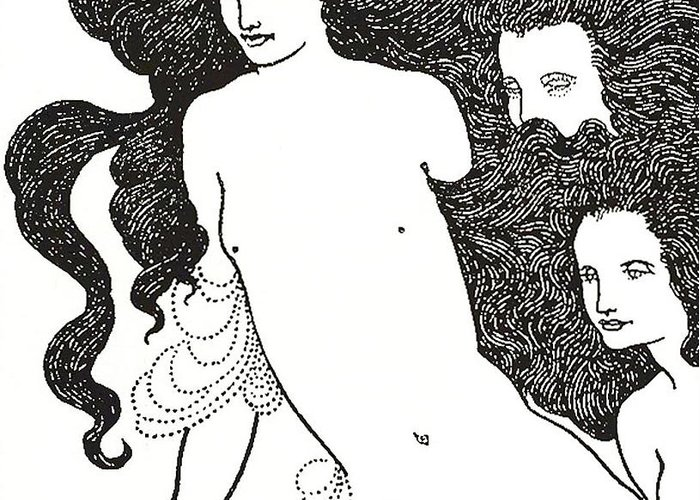 Monochrome; Monochromatic; Black And White; Illustrator; Illustration; Ink; Drawing; Drawings; Black; Aesthetic Movement; Art Nouveau; Poster Style; Style; Stylistic; Dark; Bold; Contrast; Stark; Contrasting; 19th Century; Cover; Design; Rhinegold; Rheingold; Rhine Gold; Opera; Richard Wagner; Long Hair; Hair; Flowing; Locks; Nude; Naked; Wagnerism; Decadence; Decadent; Wagnerite; Wagnerites; Comedy; Opera; Operas; Aubrey Greeting Card featuring the drawing The Comedy Of The Rhinegold by Aubrey Beardsley