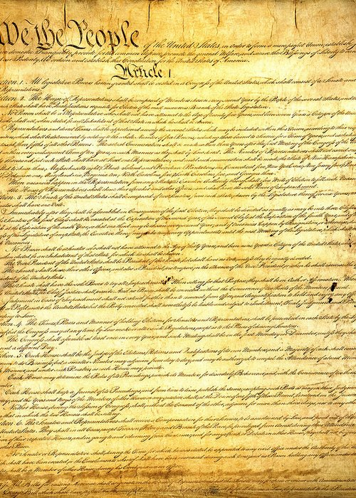 Constitution Greeting Card featuring the mixed media The Constitution Of The United States Of America by Design Turnpike