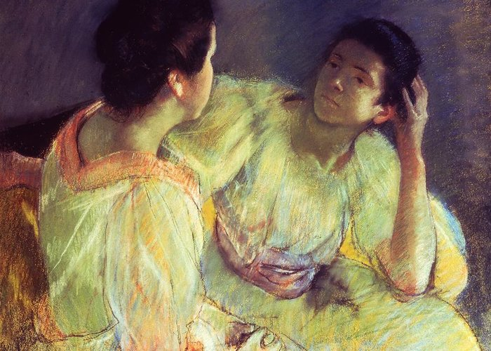 Belle Epoque; Female; Females; Friends; Listening; Friendship; Seated; Head In Hand; Impressionist; Advice; Care; Chatting; Confidante; Gossip; Discussion; Talking; Conversation Greeting Card featuring the pastel The Conversation by Mary Stevenson Cassatt