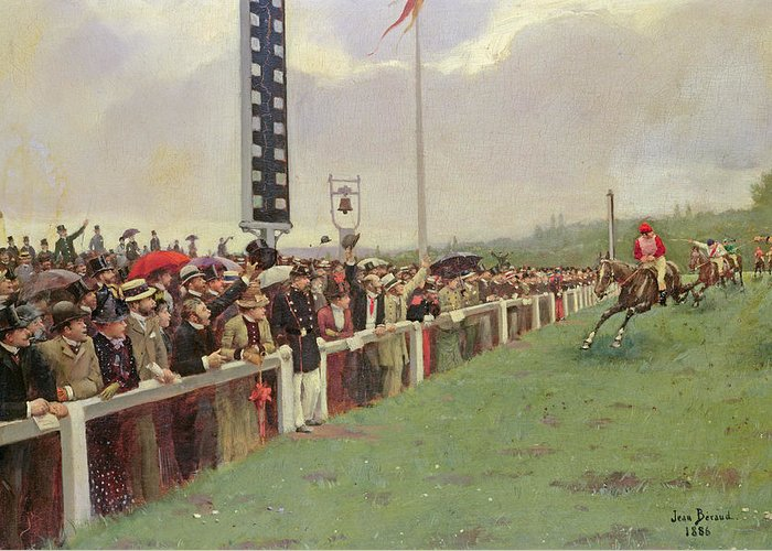 Racing Greeting Card featuring the painting The Course At Longchamps by Jean Beraud