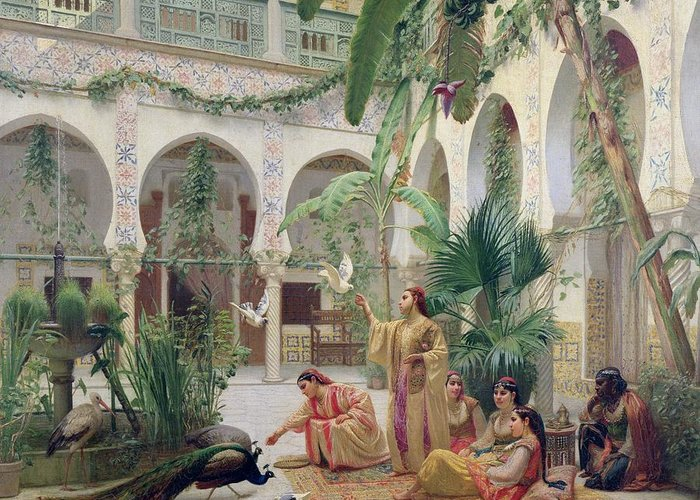 Seraglio Greeting Card featuring the painting The Court Of The Harem by Albert Girard