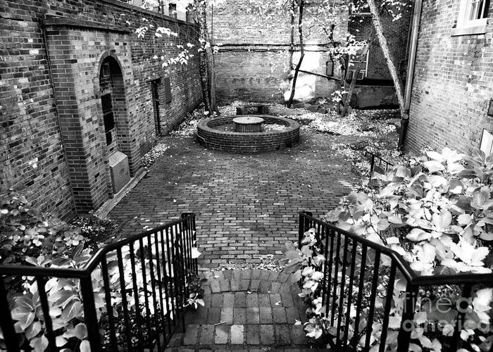 The Courtyard At The Old North Church Greeting Card featuring the photograph The Courtyard At The Old North Church by John Rizzuto