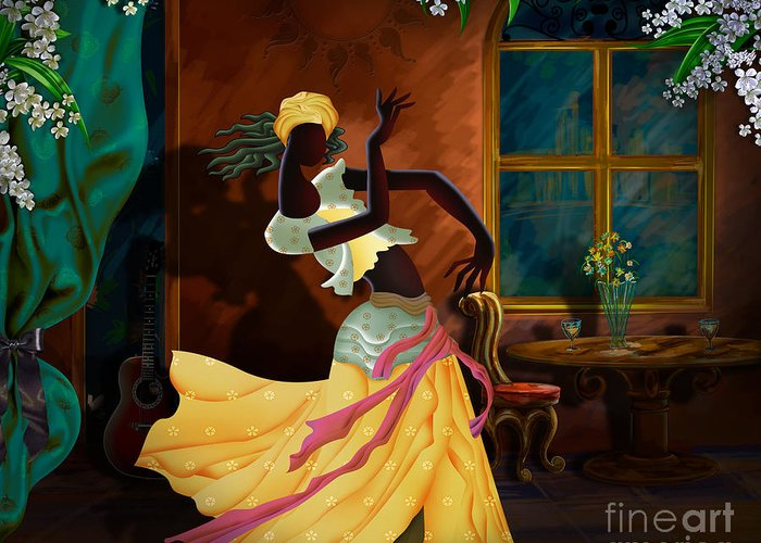 Digital Greeting Card featuring the digital art The Dancer Act 1 by Bedros Awak