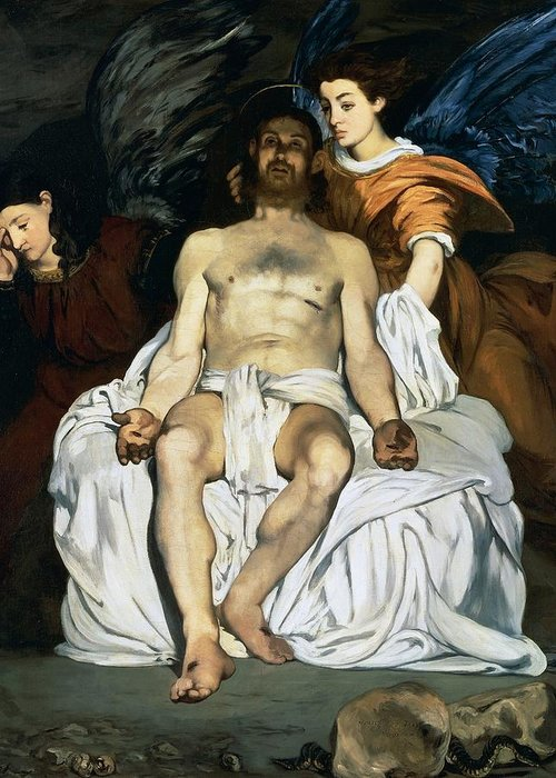 Painting Greeting Card featuring the painting The Dead Christ And Angels by Edouard Manet