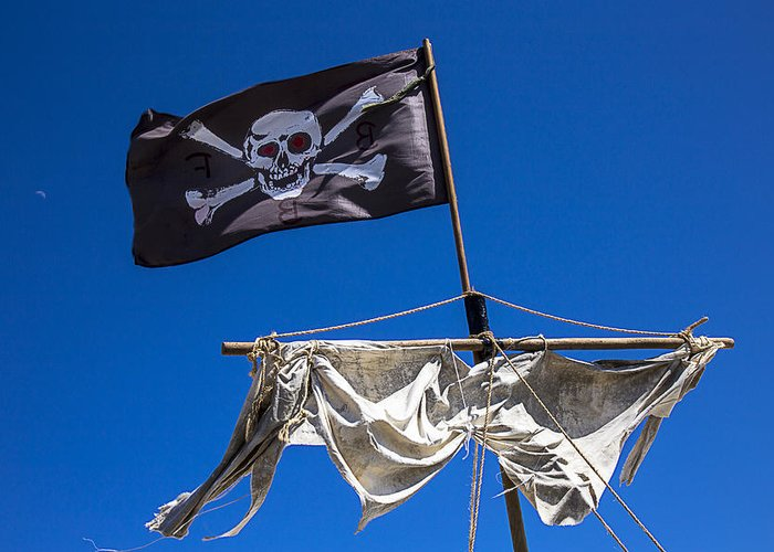 Pirate Flag Skull Banner Piracy Scull Robbers Terror Terrorist F Greeting Card featuring the photograph The Death Flag by Garry Gay