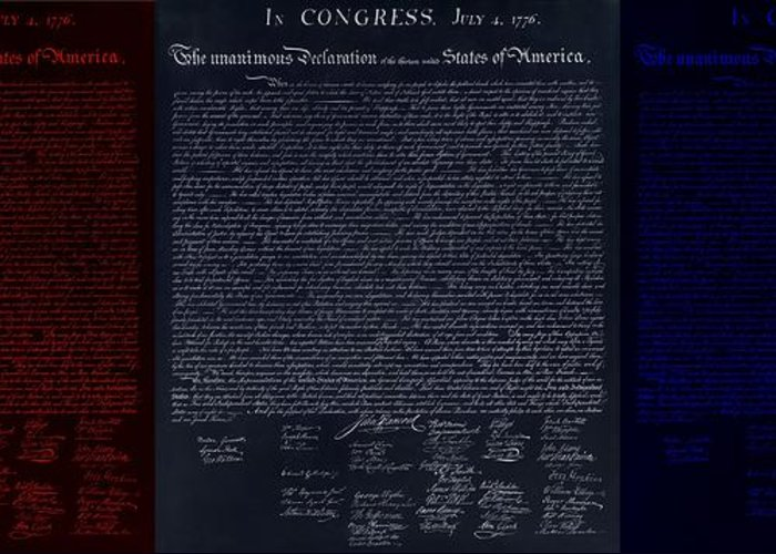 The Declaration Of Independence Greeting Card featuring the photograph The Declaration Of Independence In Negative Red White And Blue by Rob Hans