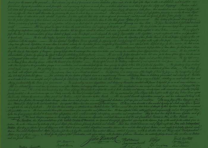 The Declaration Of Independence Greeting Card featuring the photograph The Declaration Of Independence In Olive by Rob Hans