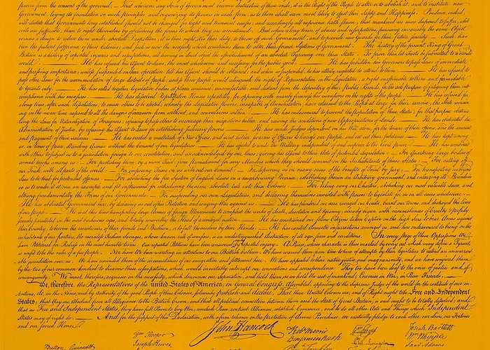 The Declaration Of Independence Greeting Card featuring the photograph The Declaration Of Independence In Orange by Rob Hans
