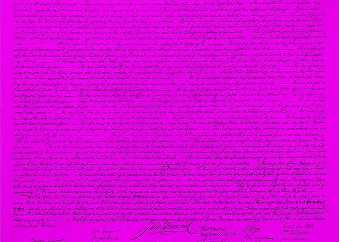 The Declaration Of Independence Greeting Card featuring the photograph The Declaration Of Independence In Purple by Rob Hans