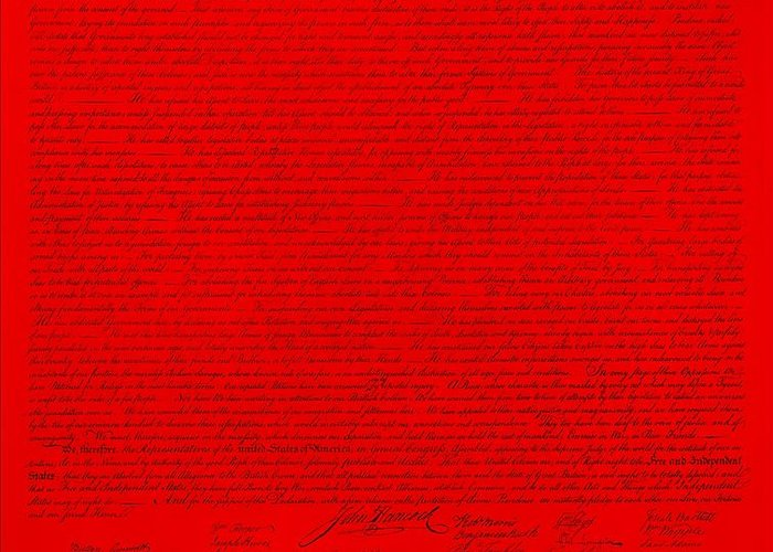The Declaration Of Independence Greeting Card featuring the photograph The Declaration Of Independence In Red by Rob Hans