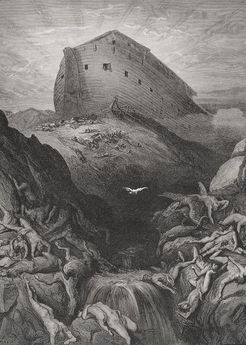Noah's Greeting Card featuring the painting The Dove Sent Forth From The Ark by Gustave Dore