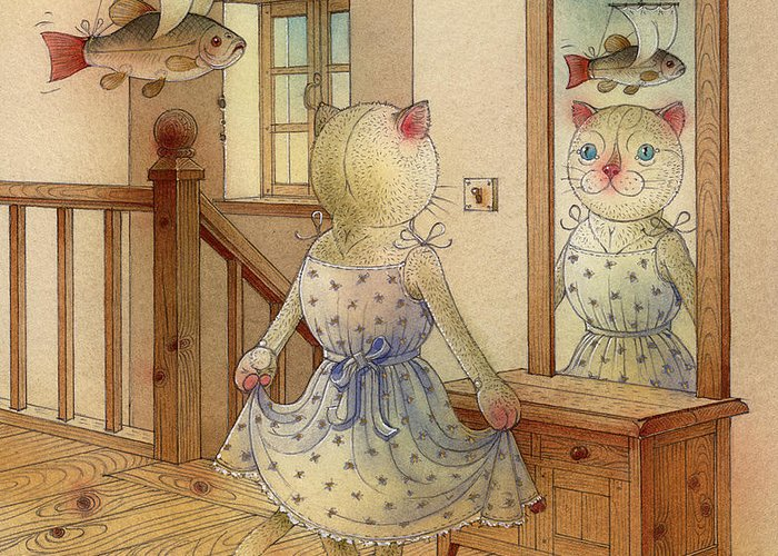 Cat Dream Blue Fish Room Fantasy Mirror Greeting Card featuring the painting The Dream Cat 11 by Kestutis Kasparavicius