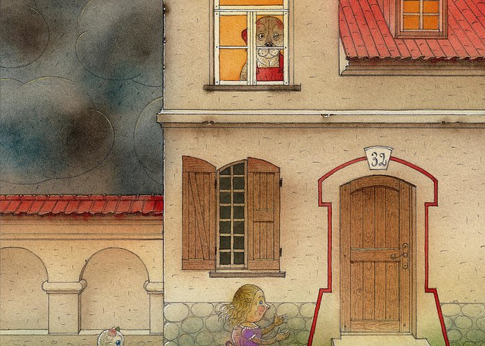 Cat Girl Fantasy Storm House Dog Red Black Street Greeting Card featuring the painting The Dream Cat 17 by Kestutis Kasparavicius