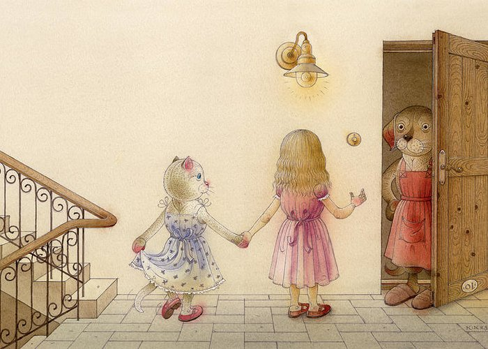 Cat Dog Girl Children Rose Blue Red Brown Greeting Card featuring the painting The Dream Cat 18 by Kestutis Kasparavicius