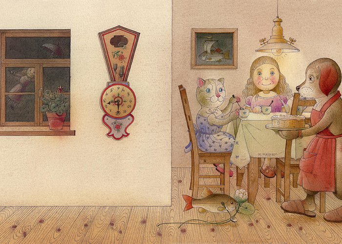Dog Cat Girl Evening Kitchen Dream Fantasy Greeting Card featuring the painting The Dream Cat 20 by Kestutis Kasparavicius