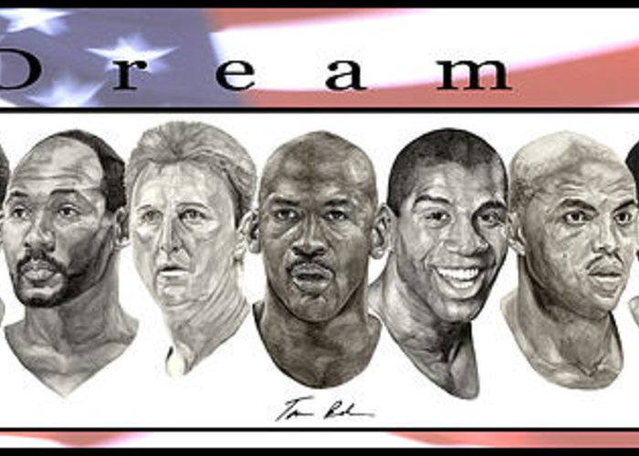 The Dream Team Greeting Card featuring the painting the Dream Team by Tamir Barkan
