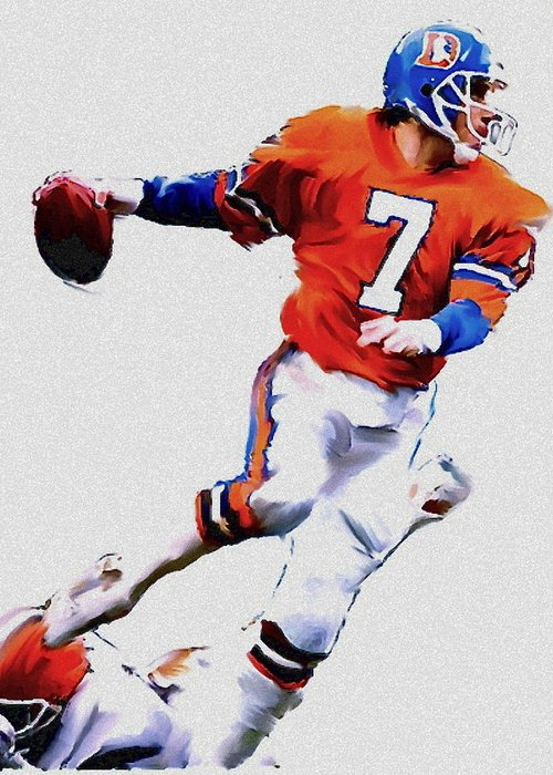 John Elway Greeting Card featuring the painting The Drive John Elway by Iconic Images Art Gallery David Pucciarelli