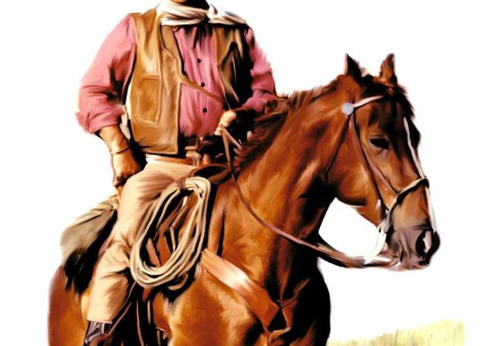 John Wayne Greeting Card featuring the painting The Duke John Wayne by Iconic Images Art Gallery David Pucciarelli