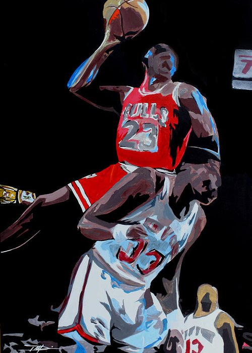 Michael Jordan Greeting Card featuring the drawing The Dunk by Don Medina